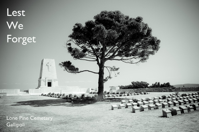 black and white photograph at lone pine cemetery at gallipoli
